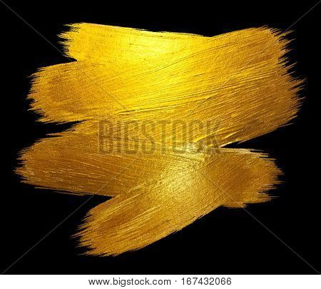 Gold Foil Stroke Shining Paint Stain Hand Drawn Raster Illustration. Black illustration.