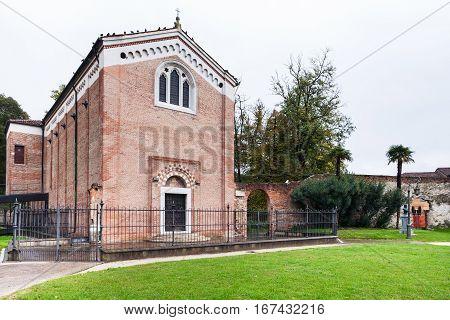 Facade Of Scrovegni Chapel In Padua City