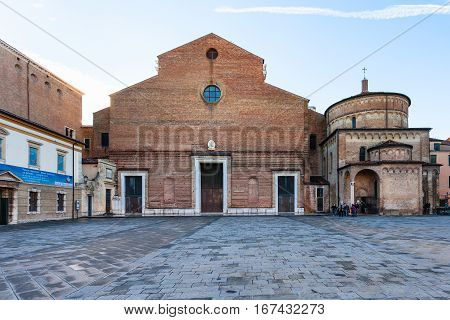 Front View Of Basilica With Baptistery In Padua