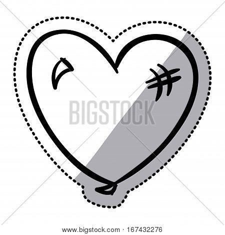sticker silhouette balloon in heart shape flat icon vector illustration