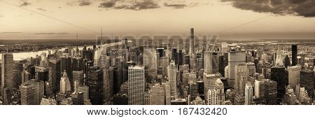 New York City midtown skyline with skyscrapers and urban cityscape panorama.