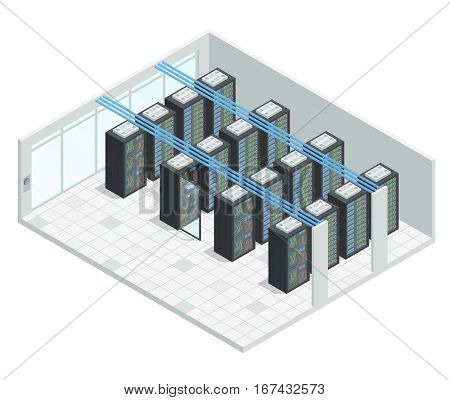 Datacenter server cloud computing isometric interior composition with four rows of hardware server case cabinet images vector illustration