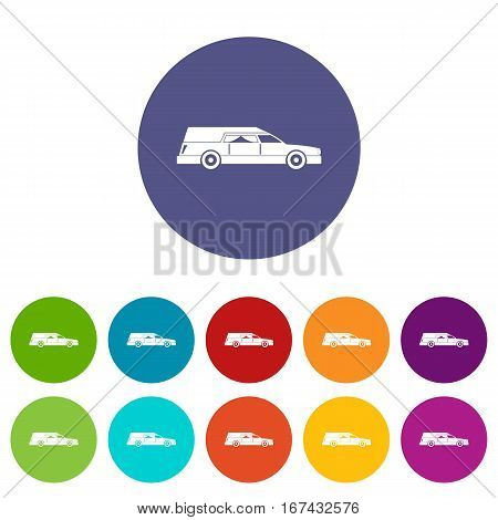 Hearse set icons in different colors isolated on white background