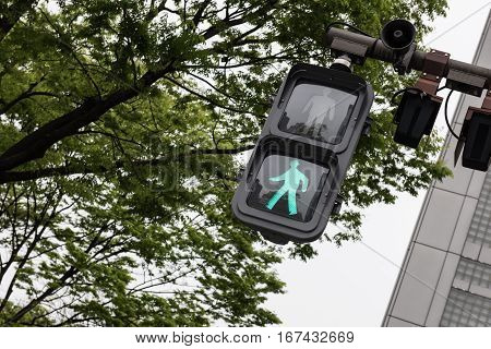 A walking green signal is seen in the picture along with some trees and a building and a loudspeaker. A clear bright sky can be seen in the picture.