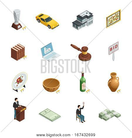 Set of sixteen isolated auction isometric icons with bidding paddle hammer valuable goods and people characters vector illustration