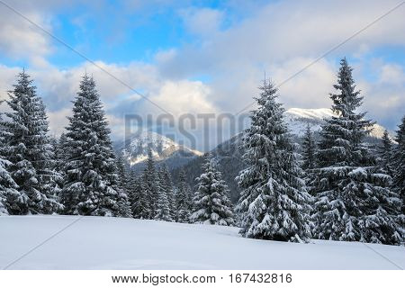 Dramatic Winter Landscape -  Clouds Float Over The Mountains