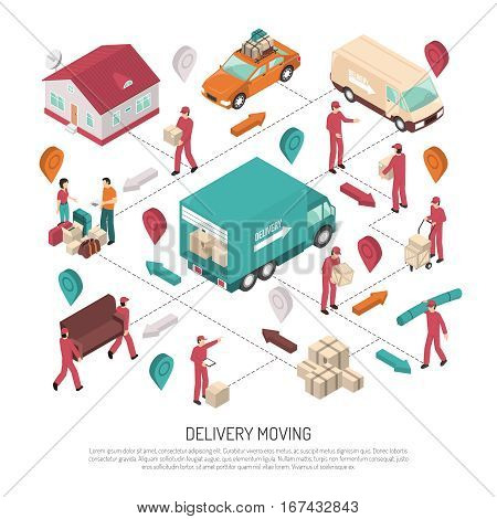 Colored isometric delivery moving composition with path and ways of delivery by workers vector illustration