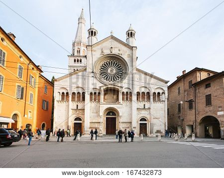 View Of Corso Duomo And Cathedral In Modena City