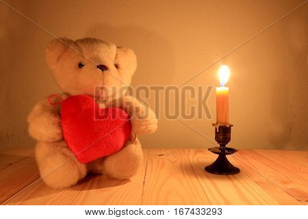 Teddy Bear And Red Heart With Candle Light Background, Sill Life Style
