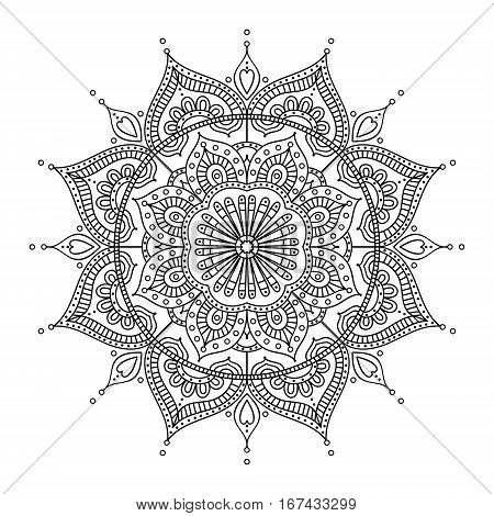 Vector hand drawn doodle mandala. Ethnic illustration with ornament. Isolated. Black and white colors. Outline. Coloring page for adult. Mandala with tribal ornament.