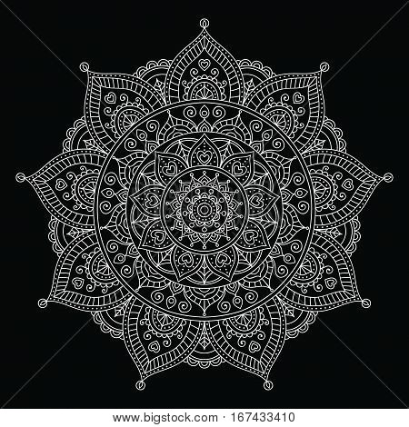 Vector hand drawn doodle mandala with hearts. Ethnic mandala with colorful ornament. Isolated. Tribal chalk board ornament. White mandala on black background.