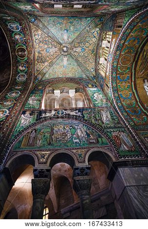 Hall Of Basilica San Vitale In Ravenna City