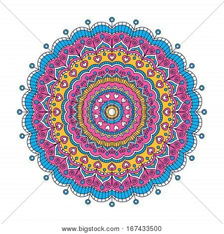 Vector hand drawn doodle mandala with hearts. Ethnic mandala with colorful ornament. Isolated. Tribal ornament. Blue pink yellow white mandala.