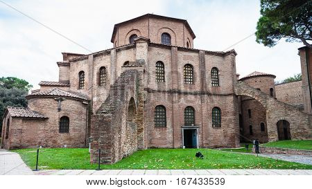 Exterior Of Basilica San Vitale In Ravenna City