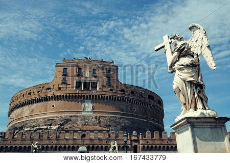 Castel Sant Angelo in Italy Rome with angel statue closeup