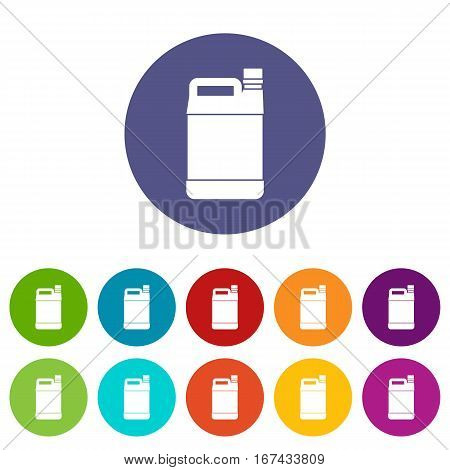 Jerrycan set icons in different colors isolated on white background