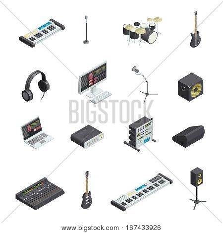 Set of isolated music recording studio gear icons with various musical instruments modules and mixing console vector illustration