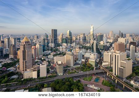Bangkok Thailand City Skyline At Central Business District Of Sathorn Street Daylight In The Morning