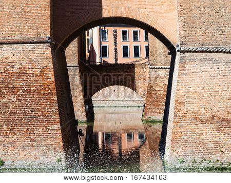 Bridges Of Castello Estense In Ferrara City