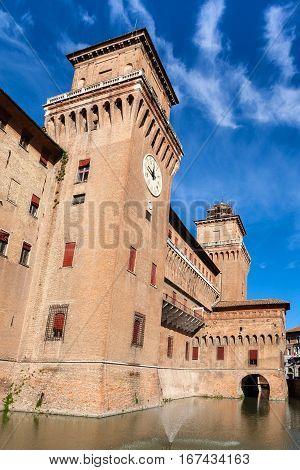 Facade Of Castello Estense In Ferrara In Sunny Day