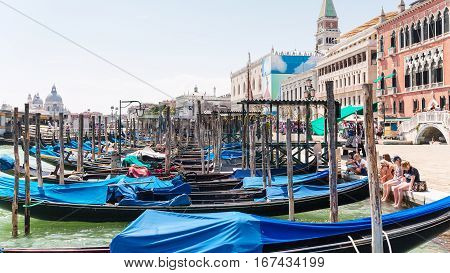 Many Gondolas Near Piazza San Marco In Venice