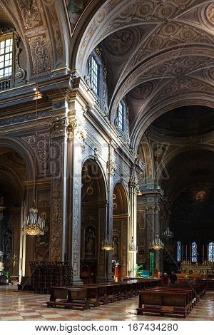 Interior Of Duomo Cathedral In Ferrara City