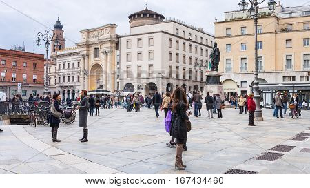People On Piazza Garibaldi In Parma City