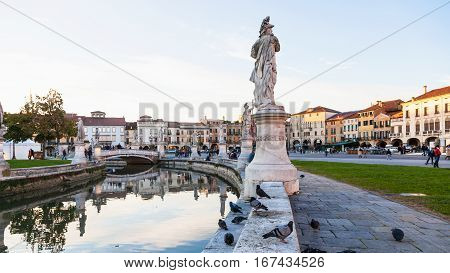 People On Prato Della Valle In Autumn Evening