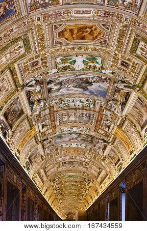 Interior Of Maps Gallery In Vatican Museum