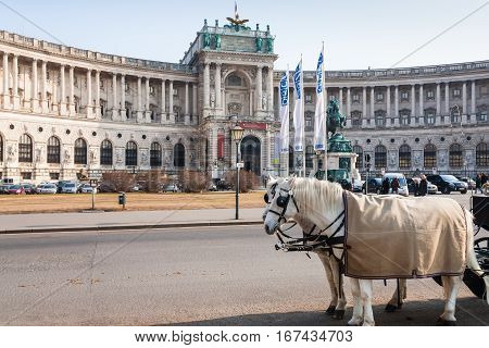 View Of New Castle In Hofburg In Vienna In Spring