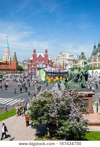 Red Square In Moscow City In Sunny Spring Day