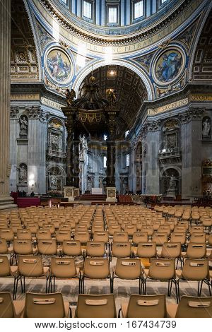 Hall Of St Peter Basilica With Bernini Baldacchino
