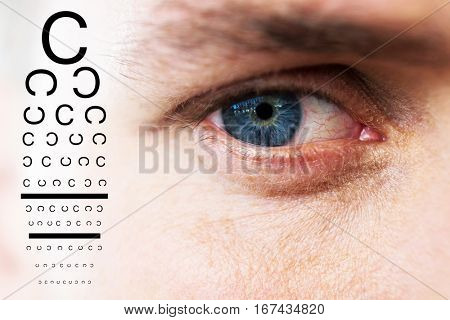 eye test against close up of man with blue eye