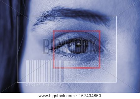Composite image of Bar code against illustration of virtual data