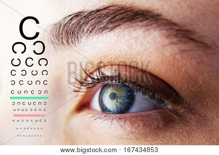 eye test against beautiful woman looking away
