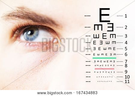 eye test against close up of man looking away