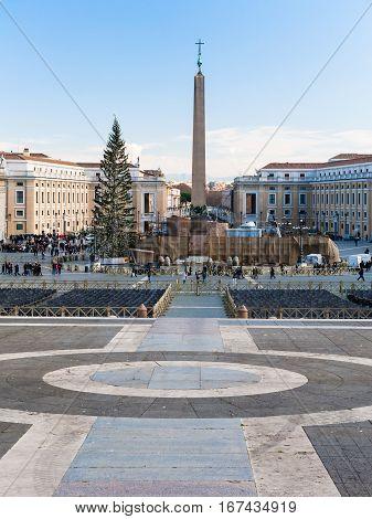 Obelisk On St Peter's Square) In Christmas Season