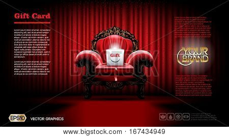 3d realistic armchair Furniture. Gift card or Voucher Discount Coupon template mockup. Red courtain background. Vector illustration