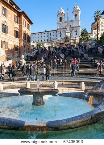 Fountain On Spanish Square And Steps In Rome