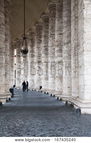Colonnade On Piazza San Pietro In Vatican City