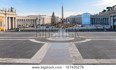 Panorama Of Piazza San Pietro In Christmas Season
