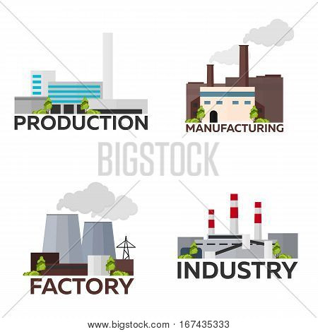 Industrial Building Factory Set. Manufacturing. Vector Flat Illustration.