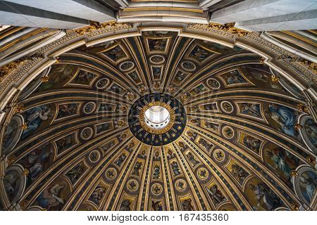 Painted Cupola Of St Peter Basilica In Vatican