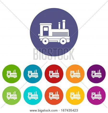 Locomotive set icons in different colors isolated on white background