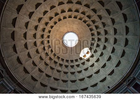 Dome Of Pantheon In Rome City
