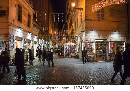 View Of Street From Piazza Campo De Fiori In Rome