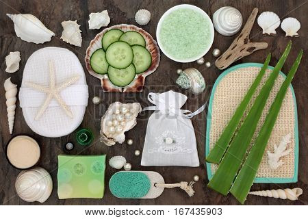 Skincare beauty and exfoliating spa beauty treatment with aloe vera and cucumber and bathroom accessories with pearls and shells.