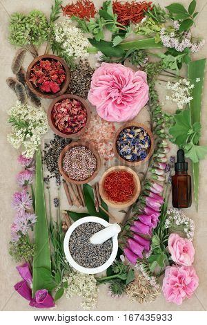 Herbal medicine selection of fresh and dried herbs and flowers used in natural alternative remedies on hemp paper background.
