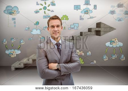 Portrait of smart businessman in suit against composite image of steps moving up