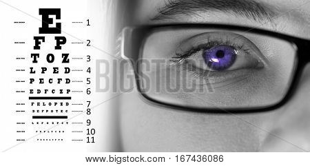 eye test against eye of a woman wearing spectacles